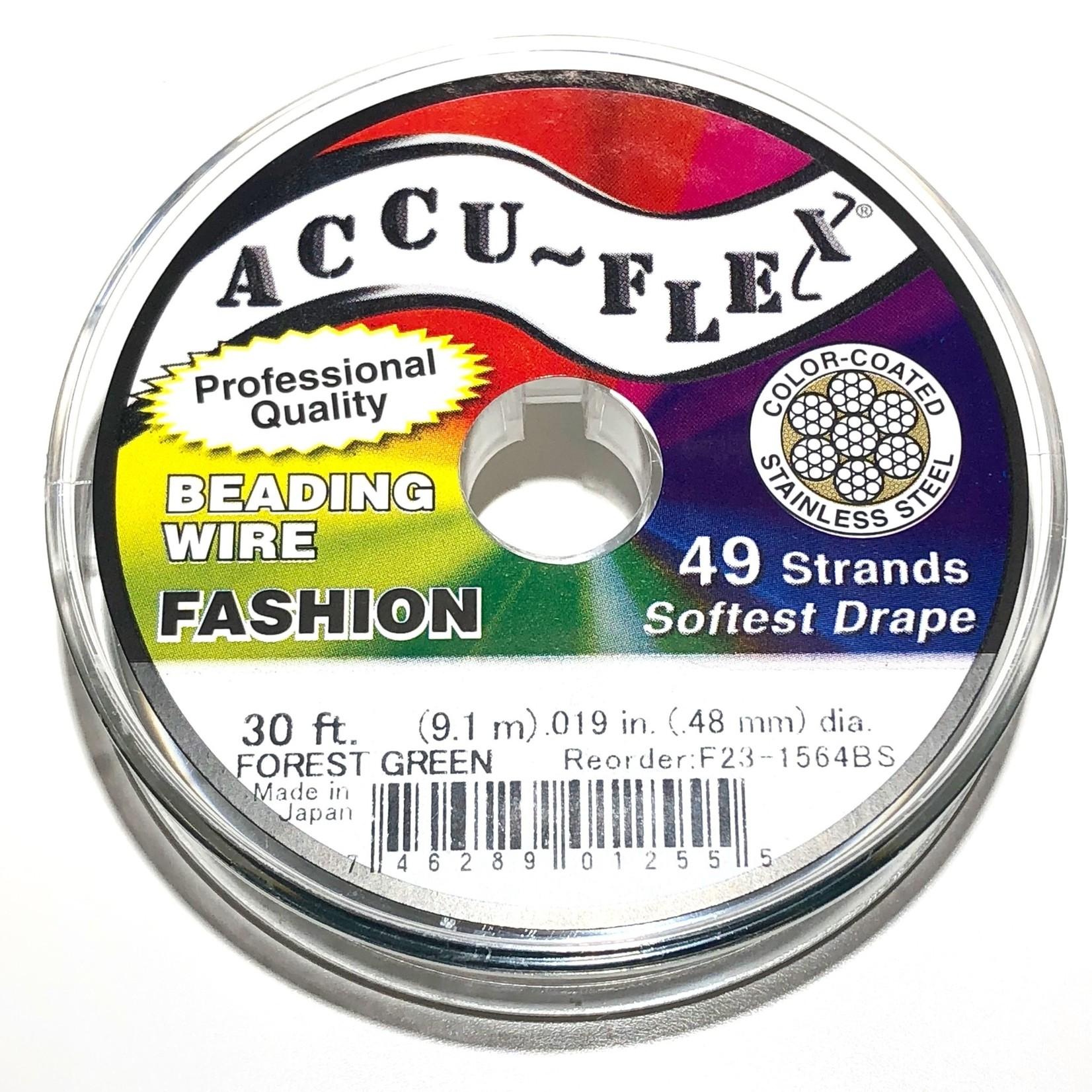 ACCU FLEX Bead Wire 49 Str .019in, 30 Ft Forest Green