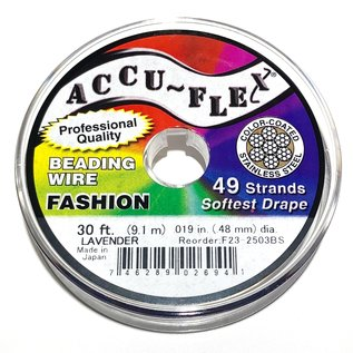 ACCU FLEX Bead Wire 49 Str .019in, 30 Ft Lavender