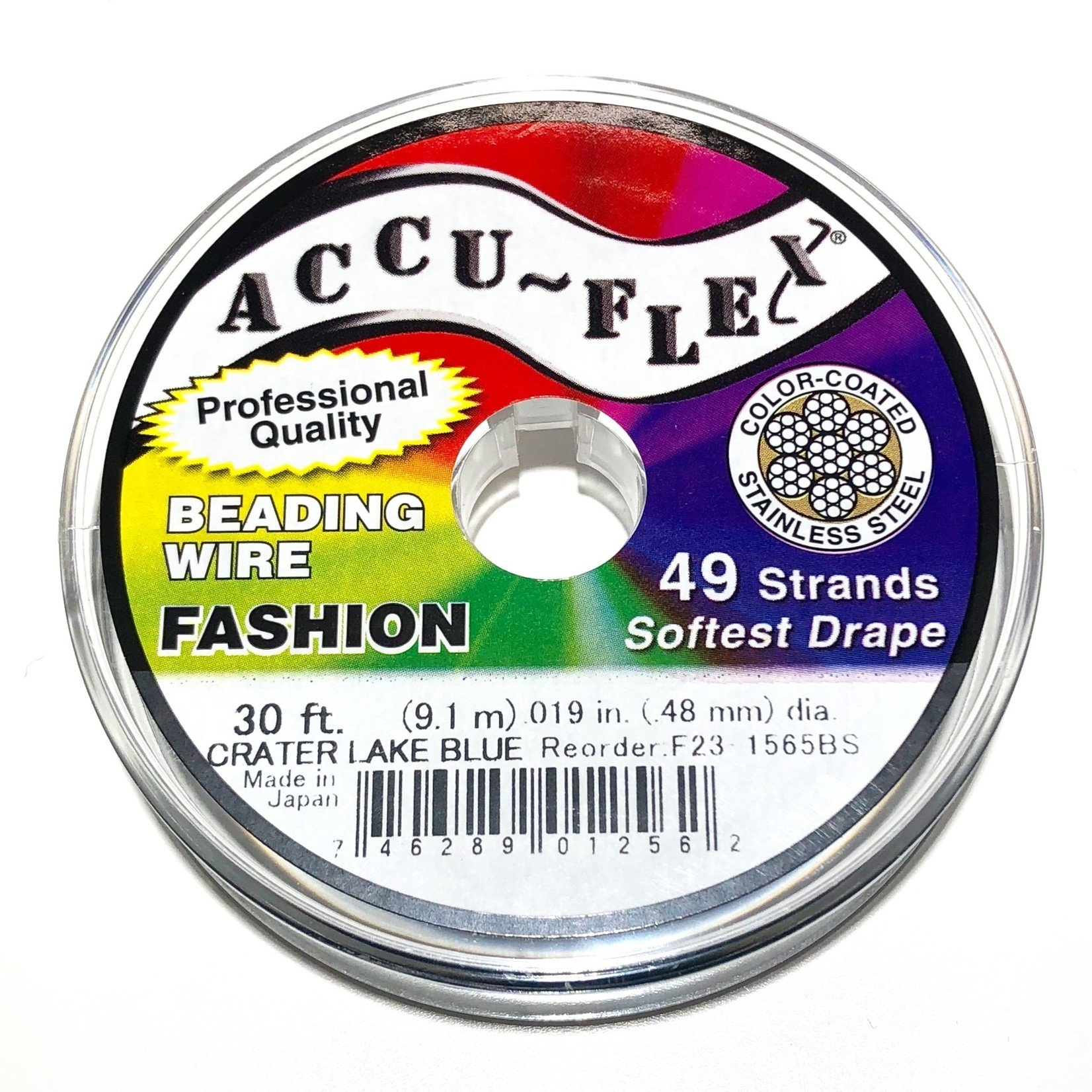 ACCU FLEX Bead Wire 49 Str .019in, 30 Ft Crater Lake Blue