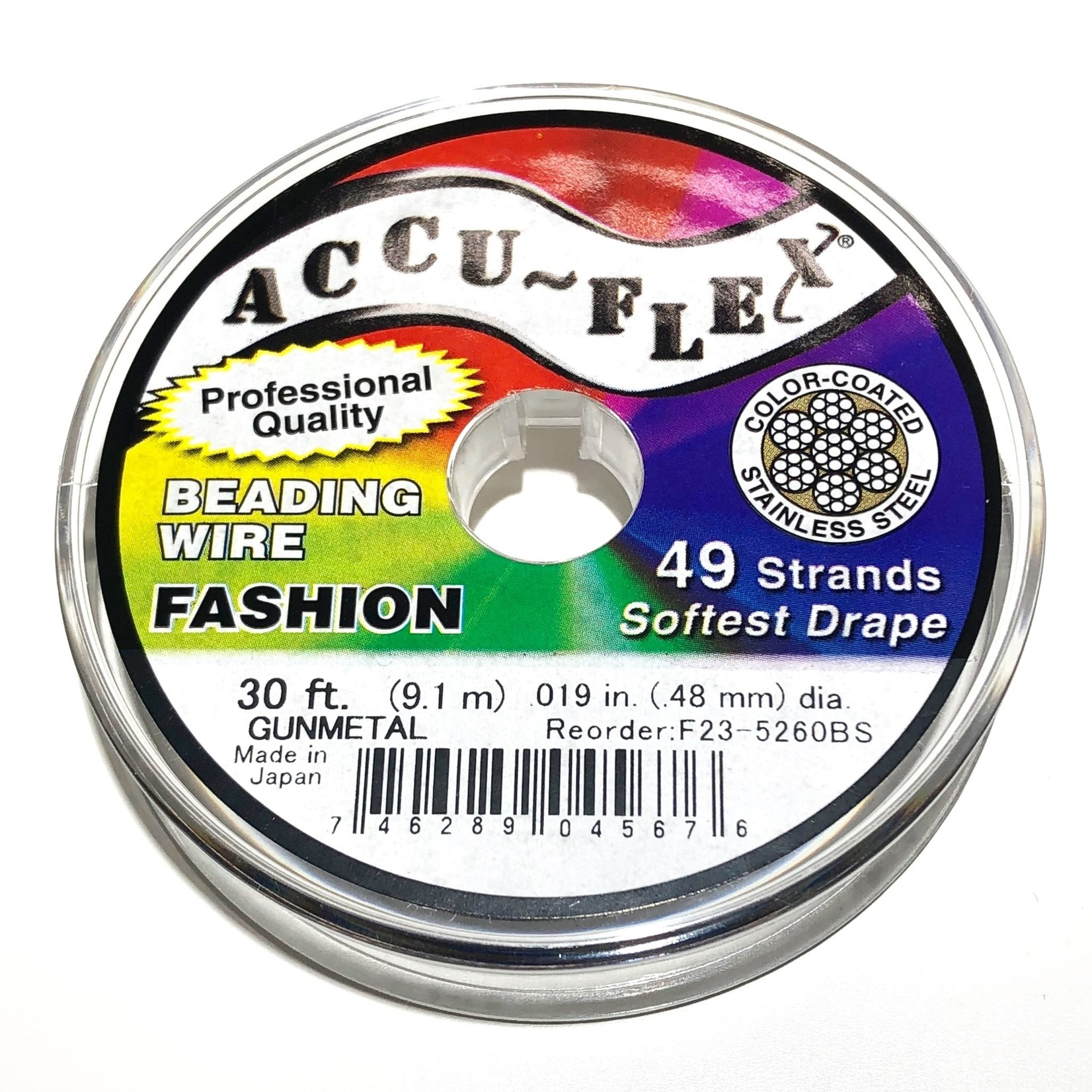 ACCU FLEX Bead Wire 49 Str .019in, 30 Ft GunMetal