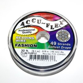 ACCU FLEX Bead Wire 49 Str .019in, 30 Ft Plum Purple