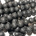 BLACK LAVA Stone Natural 8mm Round