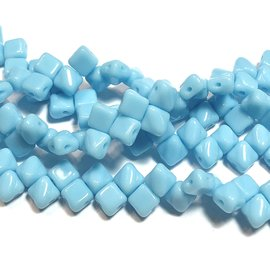 2-Hole SILKY Bead Blue Turquoise 40pcs 5mm