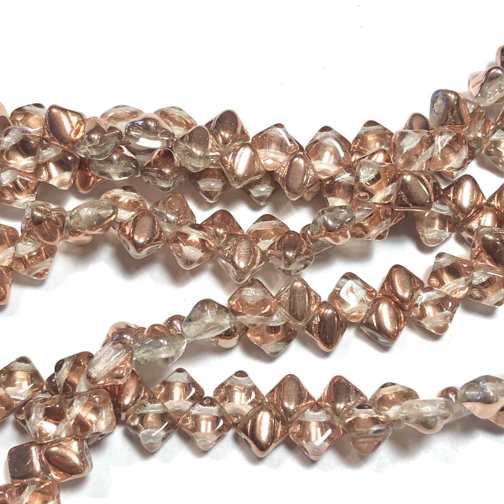 2-Hole SILKY Bead Crystal Capri Gold 40pcs 5mm