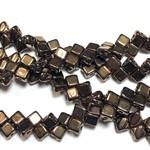 2-Hole SILKY Bead Jet Dark Bronze 40pcs 5mm