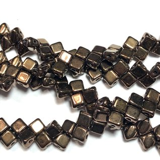 2-Hole SILKY Bead Jet Dark Bronze 40pcs 5mm