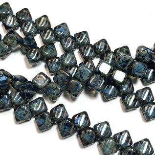 2-Hole SILKY Bead Sapphire Travertine 40pcs 6.5mm