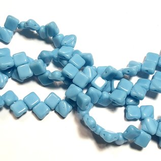 2-Hole SILKY Bead Blue Turquoise 40pcs 6.5mm