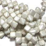 2-Hole SILKY Bead Chalk Hematite 40pcs 6.5mm