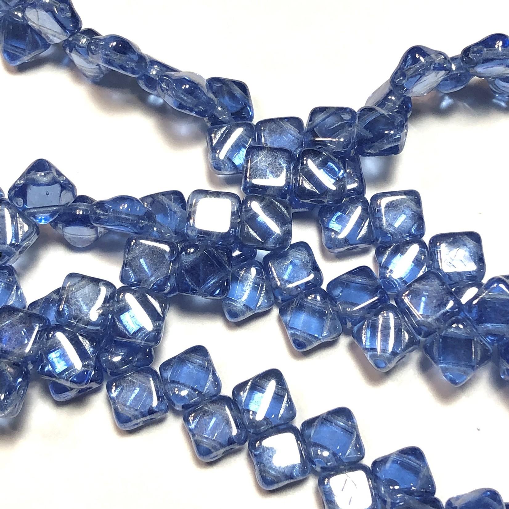 2-Hole SILKY Bead Sapphire Hematite 40pcs 6.5mm
