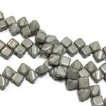 2-Hole SILKY Bead Chalk Jet Luster 40pcs 6.5mm