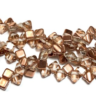 2-Hole SILKY Bead Crystal Capri Gold 40pcs 6.5mm