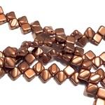 2-Hole SILKY Bead Cryst Brnz Copper 40pcs 6.5mm