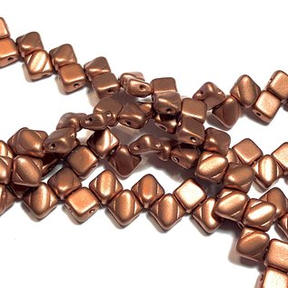 2-Hole SILKY Bead Cryst Brnz Copper 40pcs 6.5mm