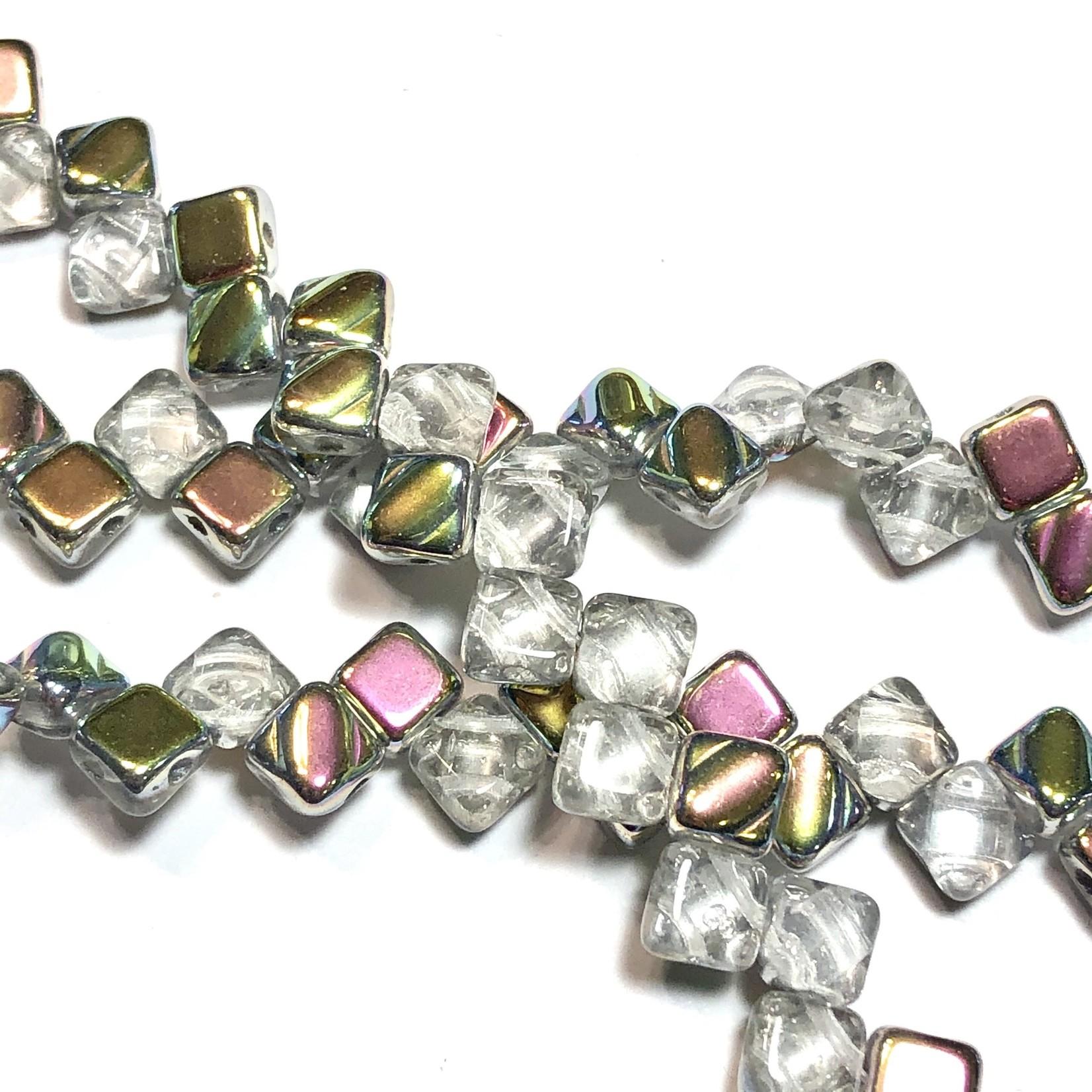 2-Hole SILKY Bead Crystal Vitrail 40pcs 6.5mm