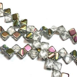 2-Hole SILKY Bead Crystal Vitrail 40pcs 6.5mm