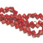 2-Hole SILKY Bead 2-Tone Red Lumi 40pcs 6.5mm