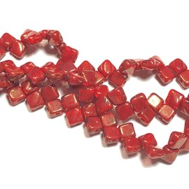 2-Hole SILKY Bead 2-Tone Red Lumi 40pcs 6.5mm