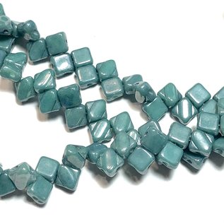 2-Hole SILKY Bead Op Jade Blue Luster 40pcs 6.5mm