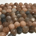 MOONSTONE Brown/Peach/Grey 12mm Faceted