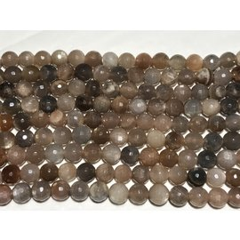 SUNSTONE Brown/Peach/Grey 8mm Faceted