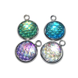 Stainless Steel 18x24mm Mermaid Scales Charm 4pcs/Pkg
