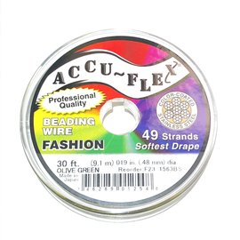 ACCU FLEX Bead Wire 49 Str .019in, 30 Ft Olive Green