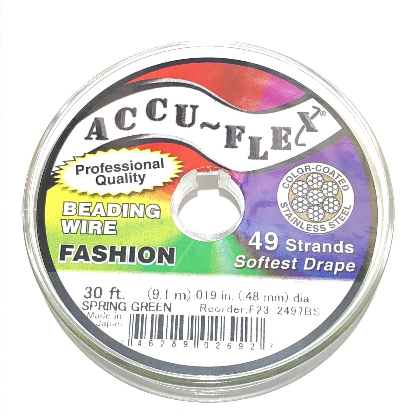 ACCU FLEX Bead Wire 49 Str .019in, 30 Ft Spring Green