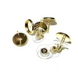 Gold Plated Tray Bezel Studs 10mm 6pr