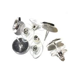 Silver Plated Tray Bezel Studs 10mm 6pr