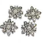 RHINESTONE Flower Links Crystal/Silver 4pcs