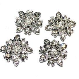 RHINESTONE Flower Links Crystal/Silver 4pcs