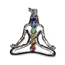 Silver Plated Yoga CHAKRA Pendant With Rhinestones