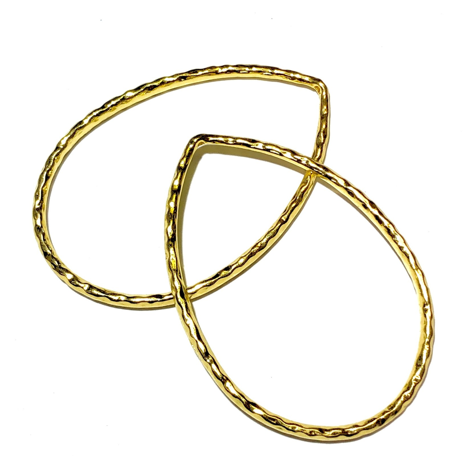 BEADING HOOPS 60 x 40mm Hammered Drop Pair
