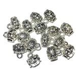 Tibetan Silver Alloy 13.5mm Charm Hanger Bead 16pcs
