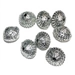 Antique Silver Alloy Bead 12x16mm Oval Round 12pcs