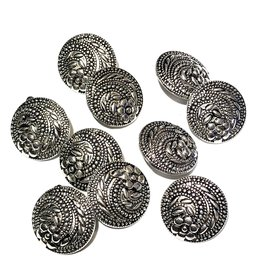 Silver Alloy Floral Swirl Buttons 16mm 10/pkg