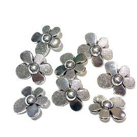 Tibetan Silver Alloy 20mm Flower Button 8/pkg