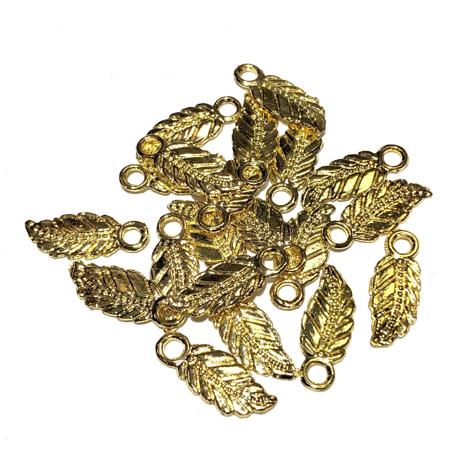 Gold Plated 18mm Feather Charm 40pcs