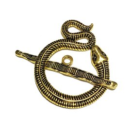 Tibetan Gold Alloy 46mm Snake Toggle Clasp
