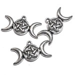 Triple Moon Pentagram 30x16mm Pendant 8pcs