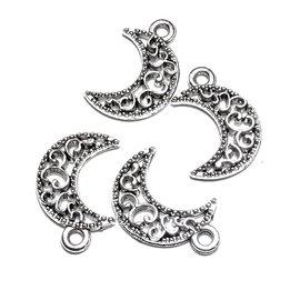 Tibetan Silver Alloy Decorative 17mm Moon Charm  15pcs