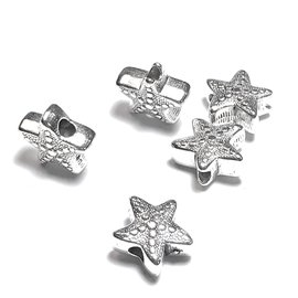 Tibetan Silver Alloy 11mm Starfish Bead 16pcs