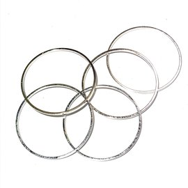 Silver Plated Brass Rings 25x1mm 18pcs