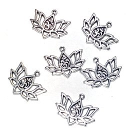 Tibetan Silver Alloy Lotus/Ohm Charm 16x20mm 6pcs