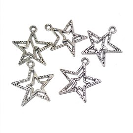 Tibetan Silver Alloy 20mm Double Star Pendant 12pcs