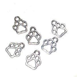 Tibetan Silver Alloy 18x11mm Dog Paw Print Charm 24pcs