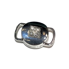 Silver Plated Rhinestone Magnetic Clasp 26x17mm