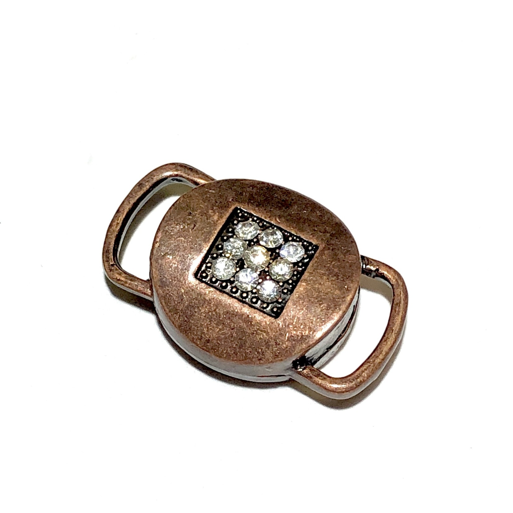 Antique Copper Rhinestone Mag Clasp 26x17mm