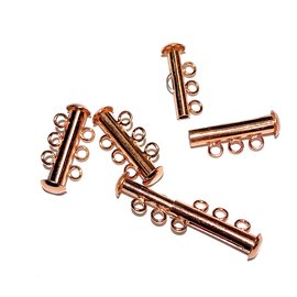 Slide CLASP 3 Hole Bright Copper Plated Brass 4pcs